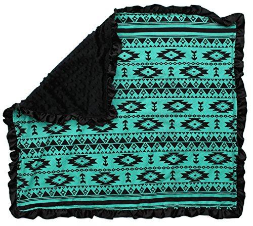 (Dear Baby Gear Baby Blankets, Aztec Teal Black, Black Minky)