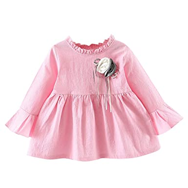 Amazon com: Joyance Baby Girl Long Sleeve Cute Flower Dress