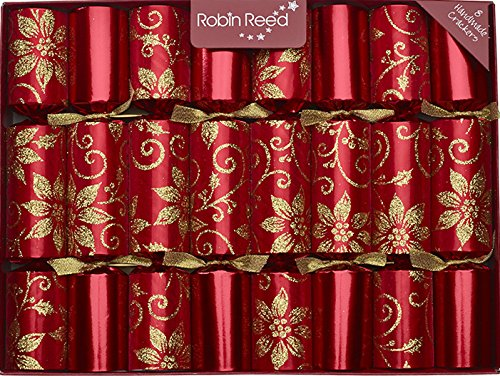 "8 X 10"" English Christmas Crackers By Robin Reed - Glitter poinsetia"