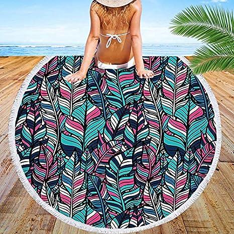 GSYAZTT Nuevas Ilustraciones de Arte Personalizado Toalla Redonda Ropa de Playa para Adultos Nadar Tela de Microfibra Alfombra de Yoga Grande Textiles para ...