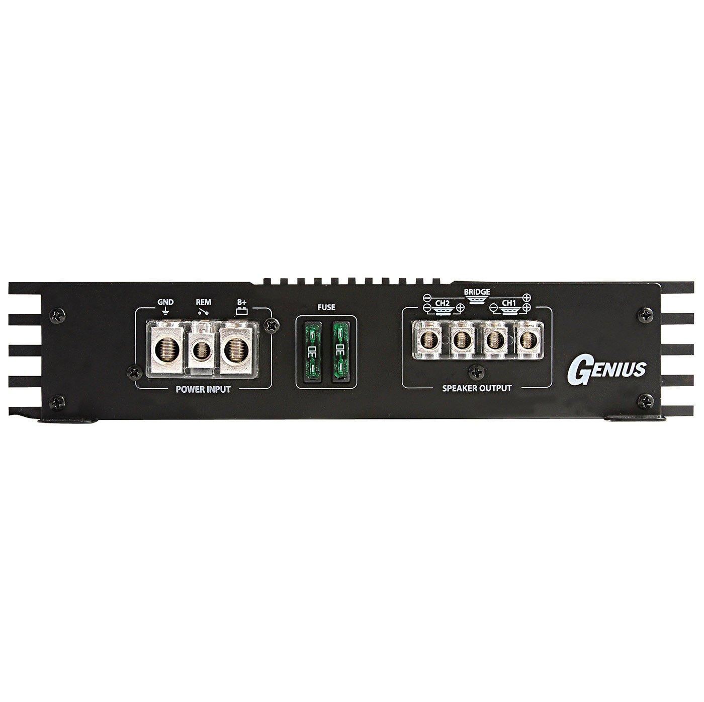 Genius G1-150.2X 600 Watts-Max Car Amplifier Black Frame Professional Class AB Aricasa