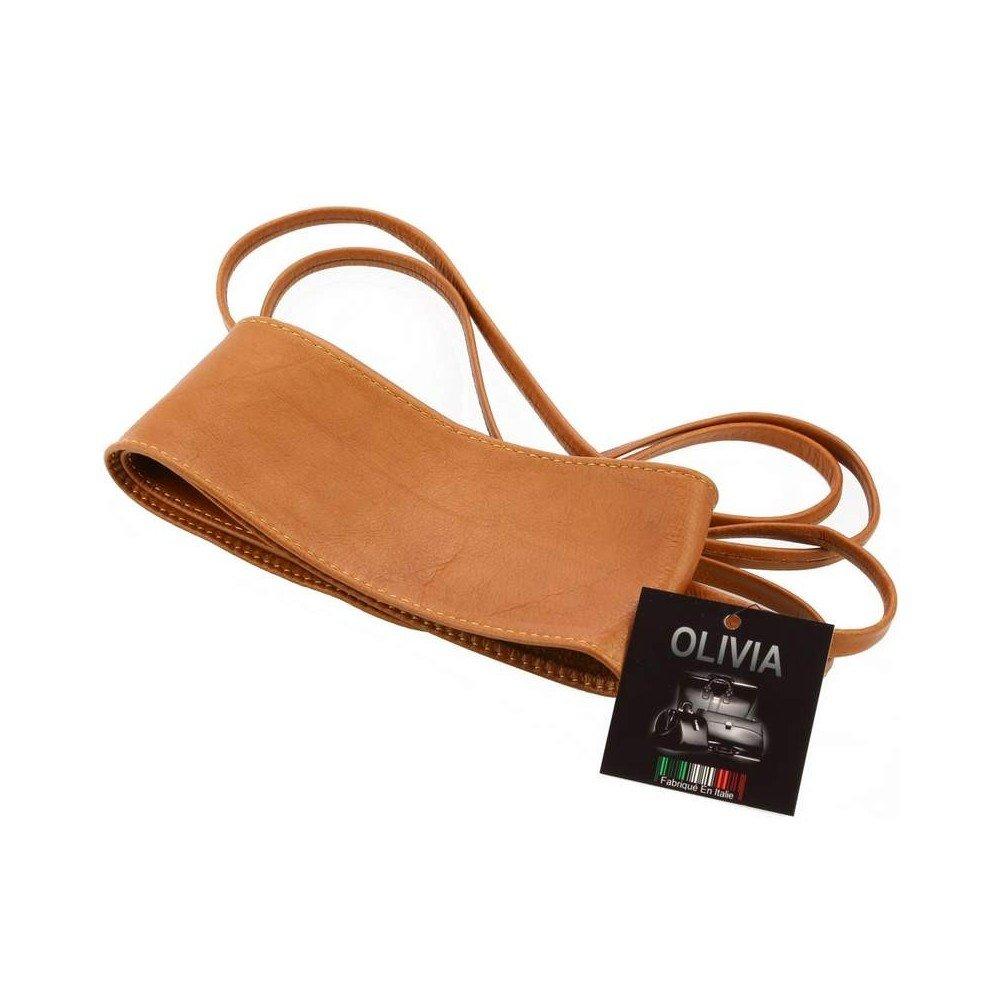 OLIVIA - Ceinture pour femme, large à nouer en cuir de vachette - Accessoire  Tendance 5d97f181591
