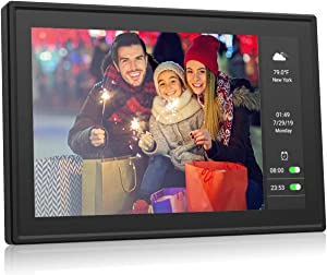 BSIMB 10.1 inch WiFi Digital Photo Frame 16GB Dual Display Digital Picture Frame 1280x800 IPS Touch Screen Motion Sensor Send Photos Support iOS/Android App,Email,Facebook,Twitter W09 Plus