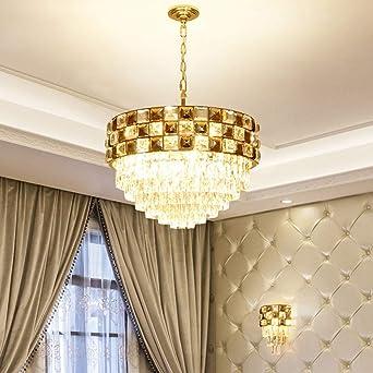 Lámpara colgante Sala de estar Dormitorio Candelabro Restaurante Villa Escalera Pasillo Cristal Hierro Arte Craft Lámpara de techo D50cm Colgante de luz: Amazon.es: Iluminación