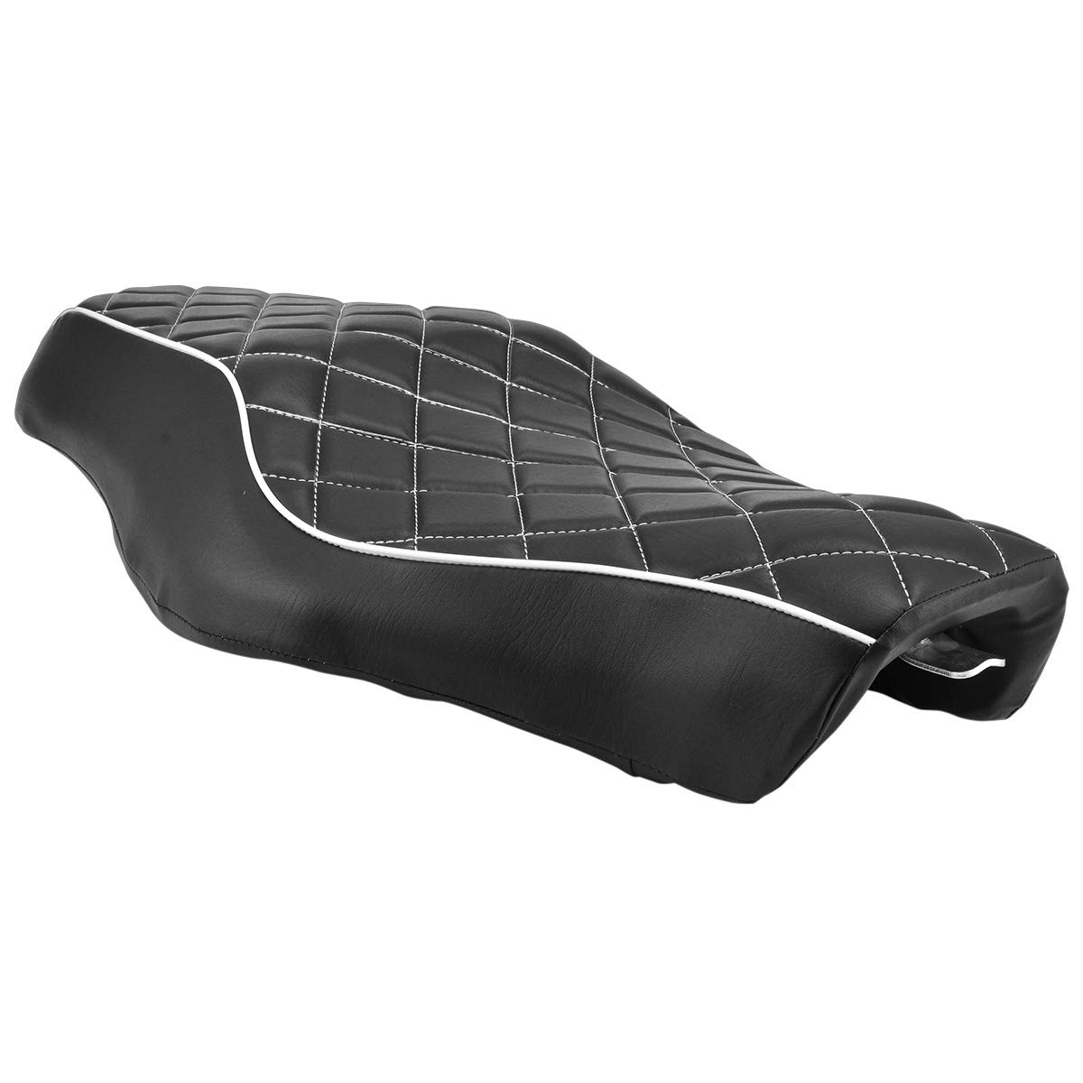 NATGIC Harley Motorcycle Seat Black Leather Stripes Surface Cushion Seat Rear Passenger Pad Seat for Harley Sportster XL 883 883XL 883C 883N 2005-2013