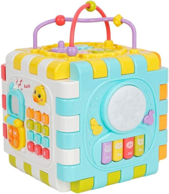 ルーピング 赤ちゃん活動歯車、鏡付きキューブ、そろばん、ビーズ迷路、ソーターシェイプ、乳幼児認知および運動技能木製ビーズ迷路を教えるためにキューブを再生します 赤ちゃん おもちゃ (Color : Multi-colored, Size : Free size)