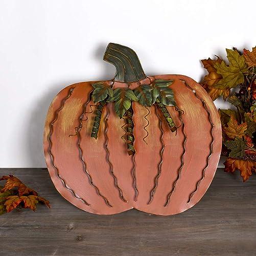 E-view Metal Flat Pumpkin Decor Free Standing Pumpkin Decoration