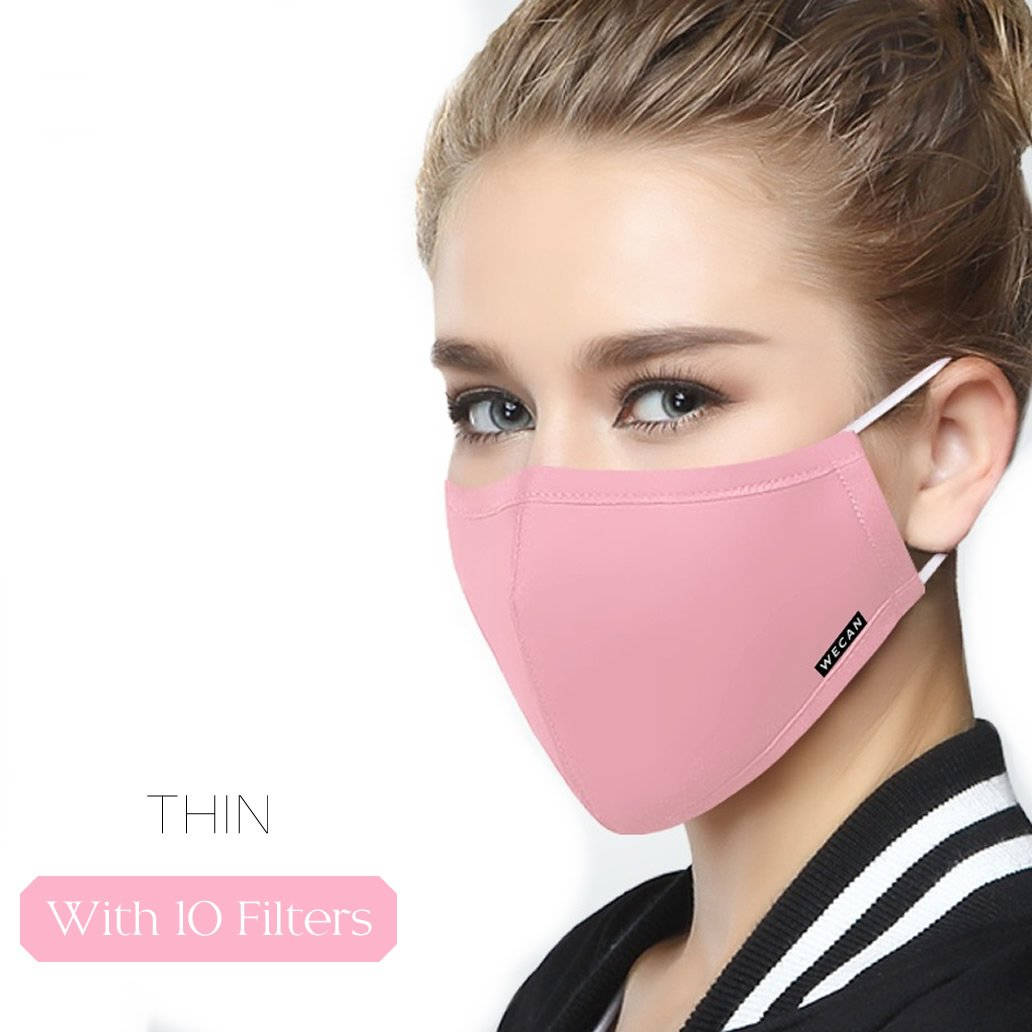 Thin Mask Washable Mouth Masks Replaceable Filter (One Mask + 10 Filters) Activated Carbon Filter - Women Light Pink