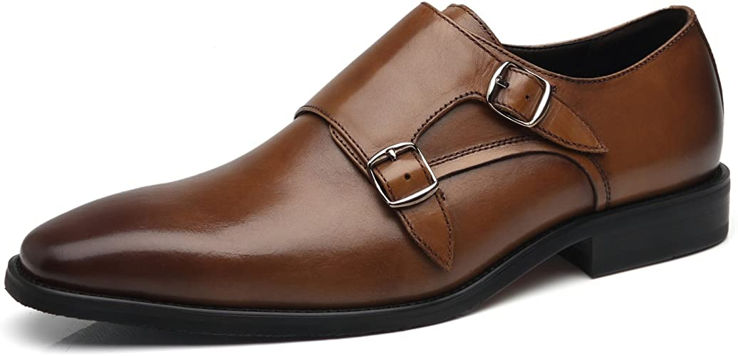 Mens Loafers Dress Shoes Formal Work Monk Strap Buckle Pointed Toe Shoes Size 13