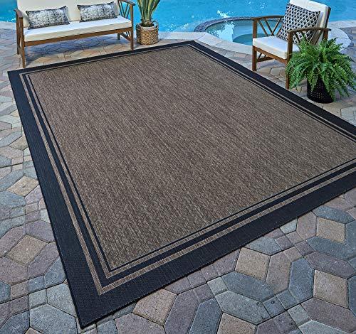 - Gertmenian 21490 Coastal Tropical Carpet Outdoor Patio Rug, 5x7 Standard, Black Border Dark