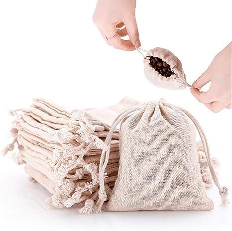 Tiny Plain Cotton Gift Bag eco packaging mini linen drawstring bag small jewellery bag for ring