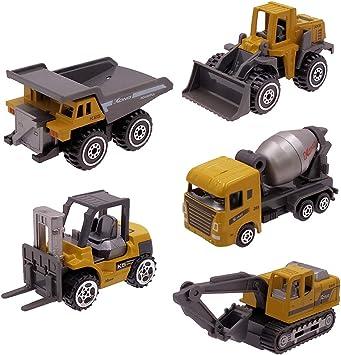 Dreamon Mini Coches y Camión de Juguetes Pack de 5 Vehículos de Construcción Educación Regalos para Niños de 3 4 5 ...