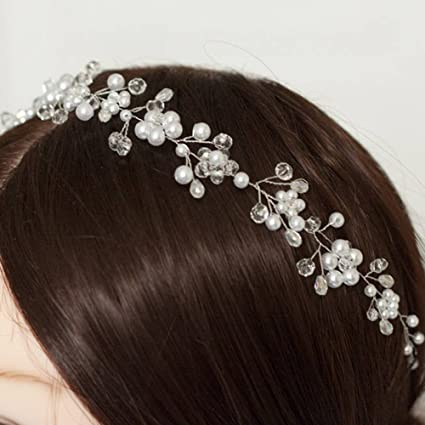 Handmadejewelrylady da sposa cristallo STRASS fascia per capelli Vine donne  fiore copricapo sera party accessori per capelli  Amazon.it  Bellezza 3651180f81a3