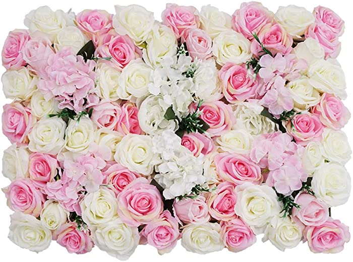 "Flower Panels 24""x16"" Flower Wall Screen Artificial Flowers Romantic Floral Backdrop Wedding Decor Photo Photography Background Home Decoration - Mix Roses"
