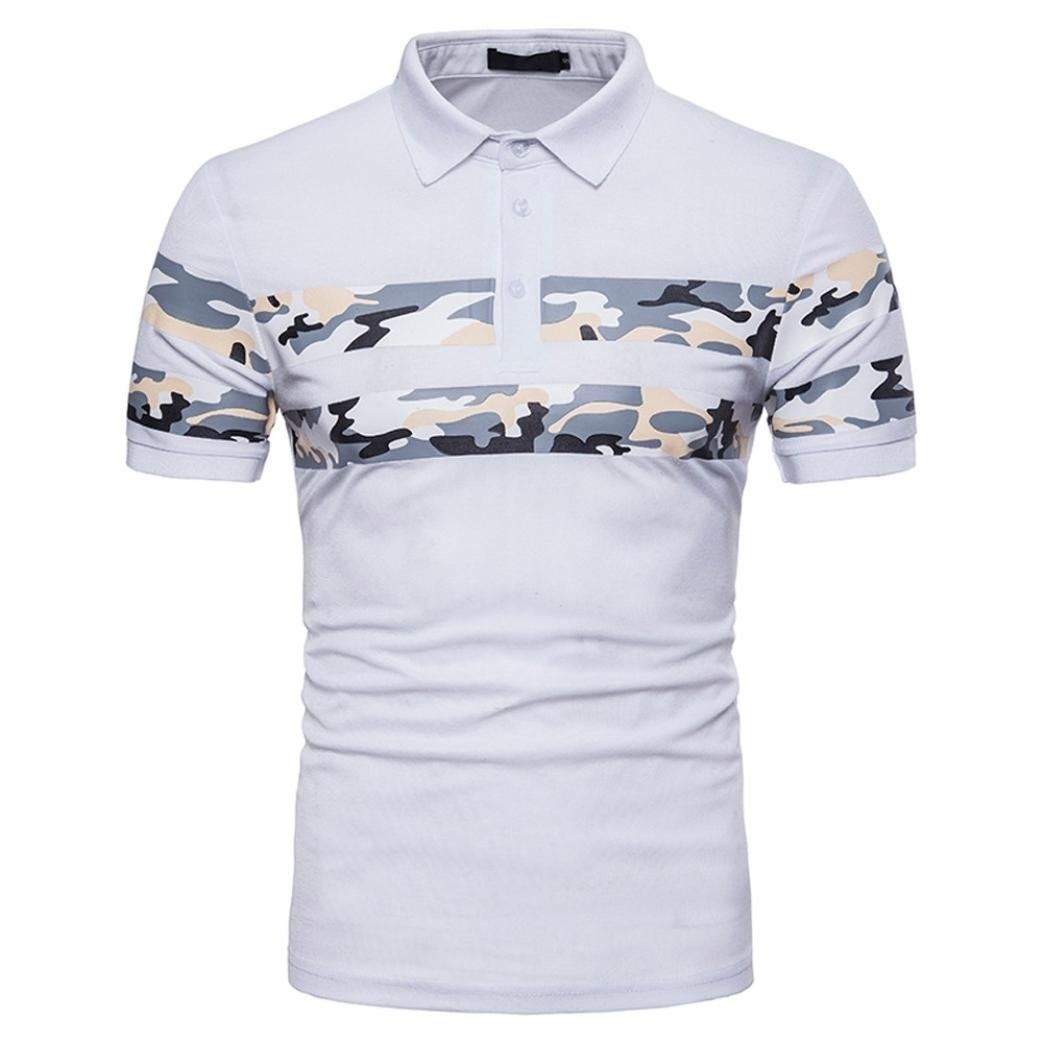 Elogoog Fashion Men's Polo Shirts Casual Slim Fit Camouflage Poloshirts Hipster Short Sleeve Tee Tops (S, White)