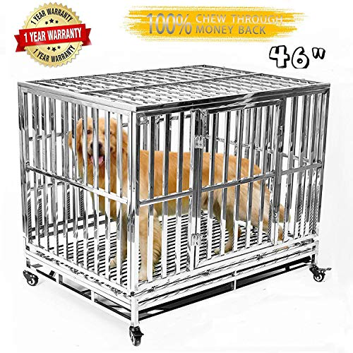 Gelinzon Heavy Duty Stainless Steel Metal Dog Cage Kennel Crate and Playpen for Training Large Dog Indoor Outdoor with Door & Locks Design Included Lockable Wheels Removable Tray, 46 inch