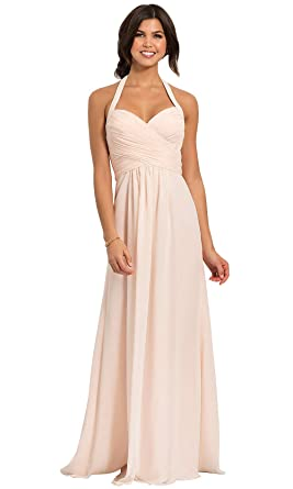 3c1c3d16b22 Women s Halter Prom Dress Long Ruched Bodice A-line Chiffon Formal Evening  Gown Baby Pink