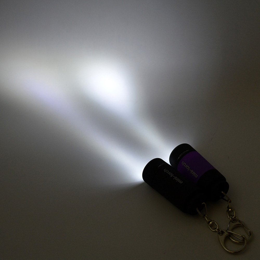 Szaerfa Mini USB recargable linterna LED antorcha linterna bolsillo llavero impermeable Purple