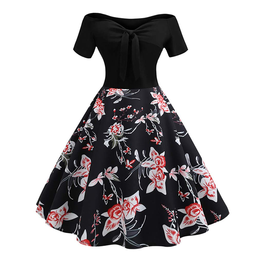 Women Vintage 1950s Retro Off Shoulder Printing Evening Party Prom Swing Dress