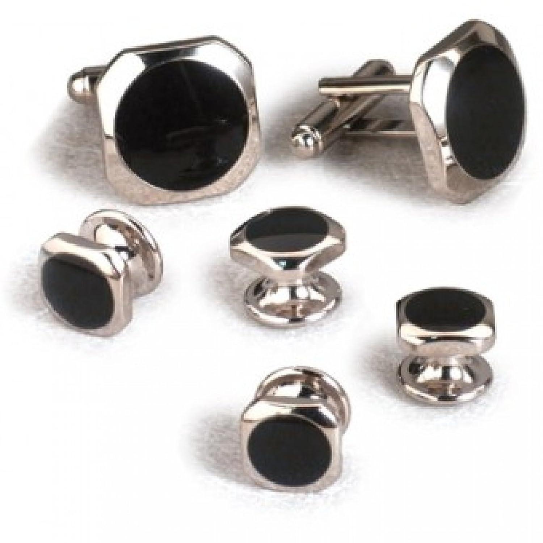 Dallas Black Onyx Tuxedo Cufflinks and Studs Set Silver Trim