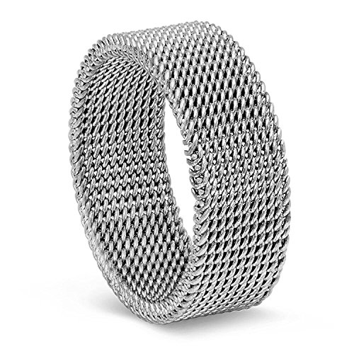8MM Stainless Steel Mesh Ring (Antiqued) - 7