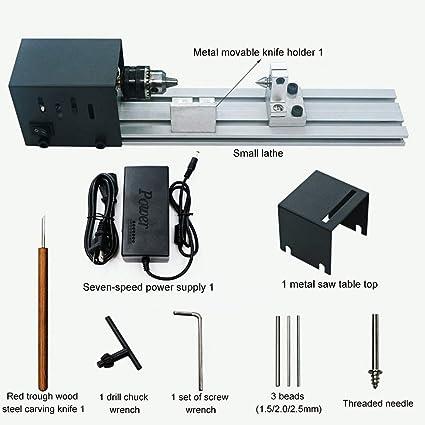 DIY Lathe Lathe Miniature Standard + Polishing Function Woodworking 24V 96W Mini Lathe Machine Woodworking DIY Lathe Set with Power Adapter