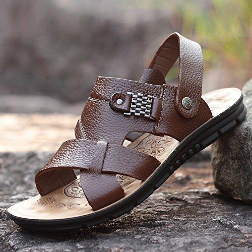 Uomini sandali Il nuovo vera pelle sandali Uomini Tempo libero scarpa Spiaggia scarpa Uomini sandali estate Uomini scarpa tendenza ,Marrone ,US=9,UK=8.5,EU=42 2/3,CN=44