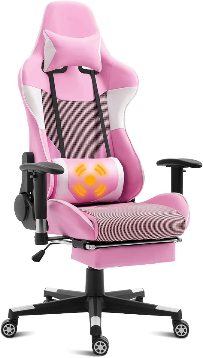 Amazon Com Giantex Ergonomic Gaming Chair With Massage Lumbar Support Pink High Back Racing Style Chair Headrest And Footrest Reclining Height Adjustable Task Chair Pink Kitchen Dining
