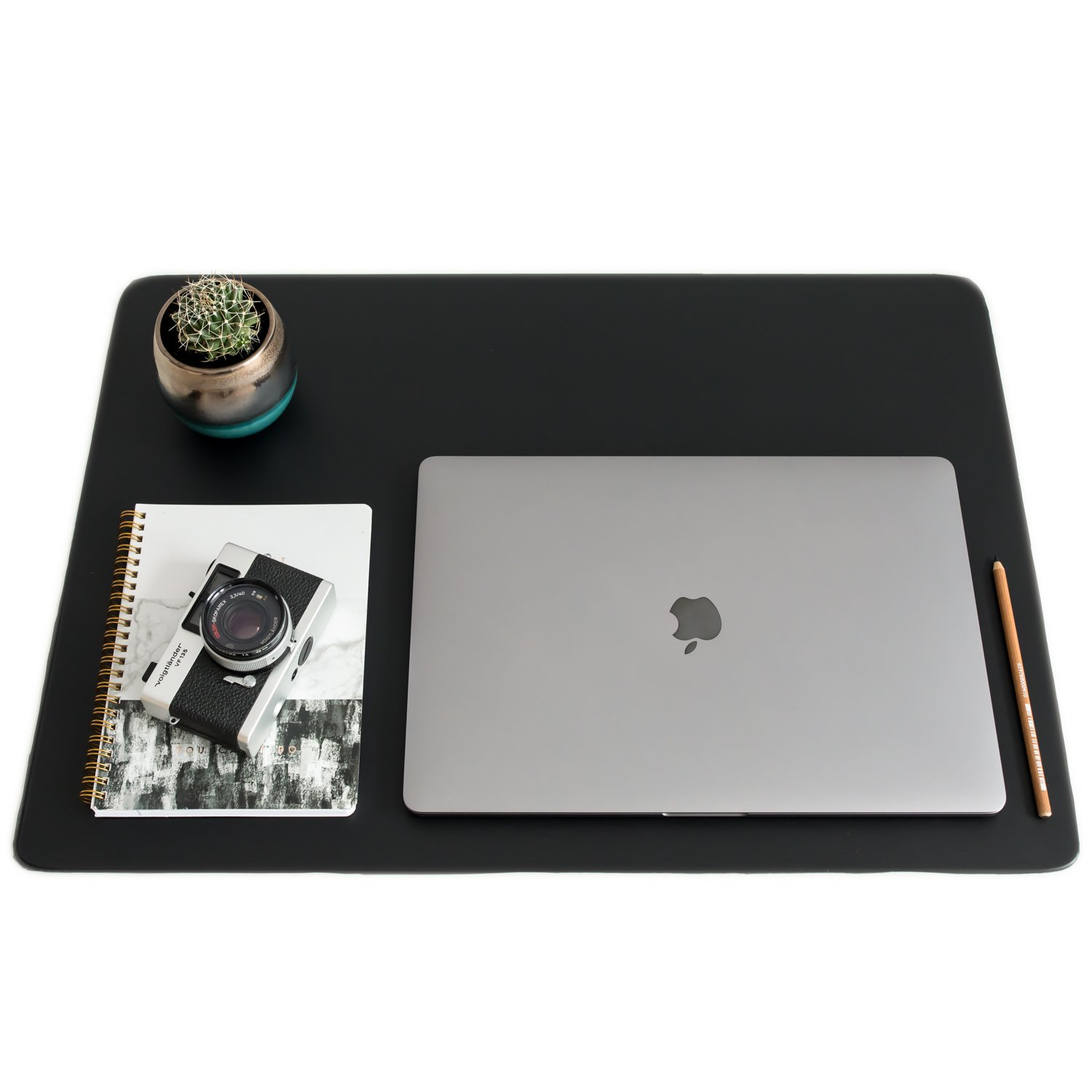 ZBRANDS // Leather Smooth Desk Mat Pad Blotter Protector 24'' x 17'', Midnight Black, Extended Non-Slip Rectangular, Laptop Keyboard Mouse Pad