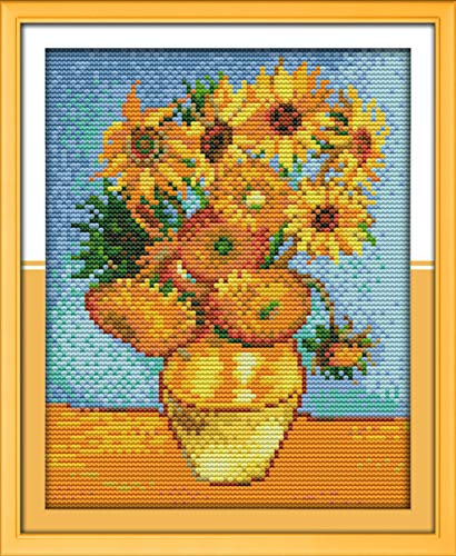 Cross Stitch Stamped Kits Pre-Printed Cross-Stitching Starter Patterns for Beginner Kids or Adults, Embroidery Needlepoint Kits Van Gogh's Sunflower Painting for Home Wall -