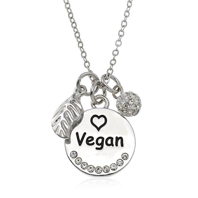 Amazon Pammyj Silvertone Vegan Pendant Necklace 18 2 Ext