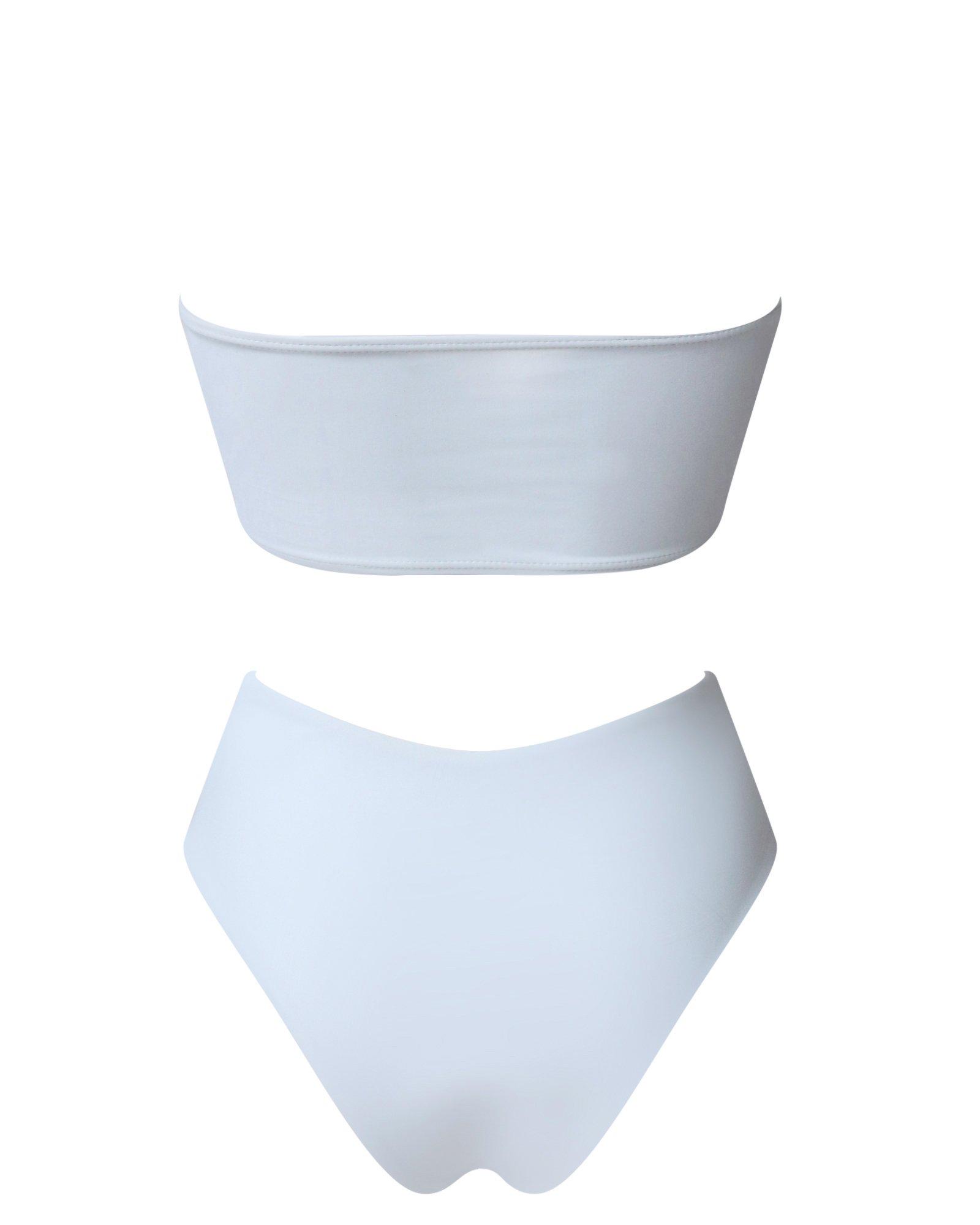 848c45d721 OMKAGI Women's 2 Pieces Bandeau Bikini Swimsuits Off Shoulder High Waist  Bathing Suit High Cut(S,White)