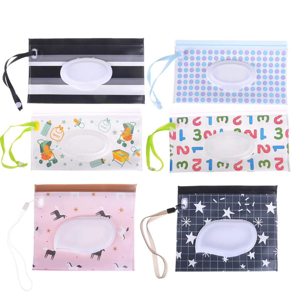 6 Pcs Wet Wipe Pouch Baby Refillable Moist Diaper Wet Wipe Clutch Strap Bag Wipes Container (No Wipes in It) - 9.44 x 5.51 Inches and 7.08 x 5.9 Inches by JiaUfmi