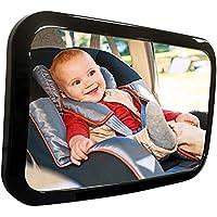 Espejo Para Bebé Auto, Espejo De Asiento, Espejo de Carro Bebé a la Vista para Seguridad en el Auto | vista Panorámica, Ajuste Perfecto, Alta Calidad, Retrovisor Fácil de Instalar | Vidrio Ajustable, Convexo y Inastillable, Espejo 360 ° Para Bebé (Negro)
