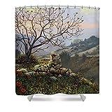 Pixels Shower Curtain (74'' x 71'') ''The Fig Tree Mt Carmel''