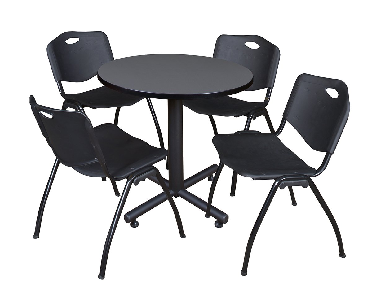 Regency Kobe 30-Inch Round Breakroom Table, Grey, and 4 M Stack Chairs, Black