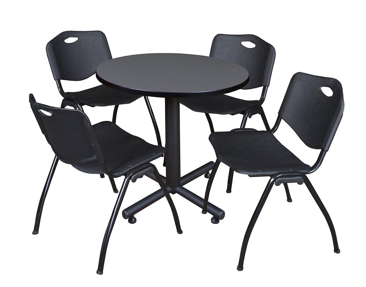 Regency Kobe 30-Inch Round Breakroom Table, Grey, and 4 M Stack Chairs, Black by Regency Seating (Image #1)