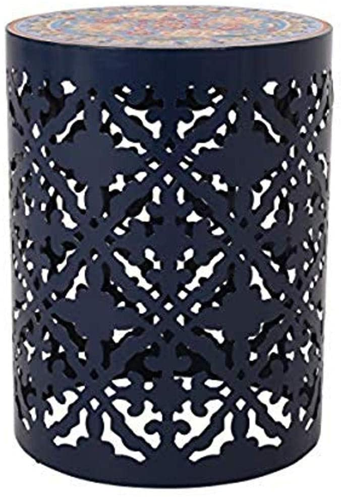 Christopher Knight Home 313061 Laurent Outdoor Lace Cut Side Table with Tile Top, Dark Blue : Garden & Outdoor