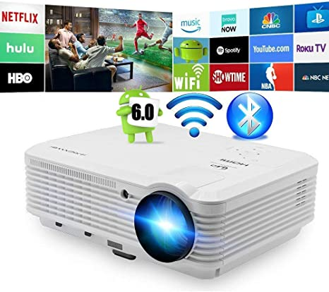 Bluetooth Inalámbrico LED Proyector 4500 Lumens Android Proyector Bluetooth HDMI Smart Wifi HD WXGA Proyectores Airplay Miracast LCD 1080P Proyector Wifi Bluetooth HDMI USB VGA Audio AV: Amazon.es: Informática