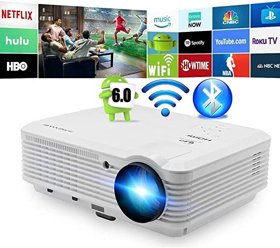 Bluetooth Inalámbrico LED Proyector 4500 Lumens Android Proyector Bluetooth HDMI Smart Wifi HD WXGA Proyectores Airplay Miracast LCD 1080P Proyector Wifi Bluetooth HDMI USB VGA Audio AV