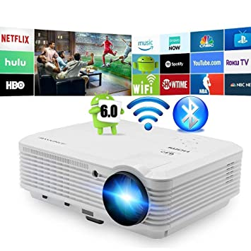 Bluetooth Inalámbrico LED Proyector 4500 Lumens Android Proyector Bluetooth HDMI Smart Wifi HD WXGA Proyectores Airplay Miracast LCD 1080P Proyector Wifi ...