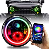 7 inch LED Halo Projector Headlights RGB Chase Chasing Color Change Wireless (2 Pack)