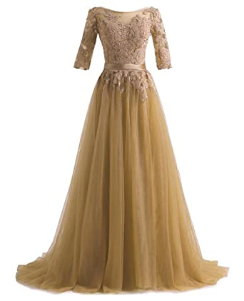 QiJunGe Elegant Long Evening Dresses Lace Half Sleeves Formal Prom Party Gowns - Gold -