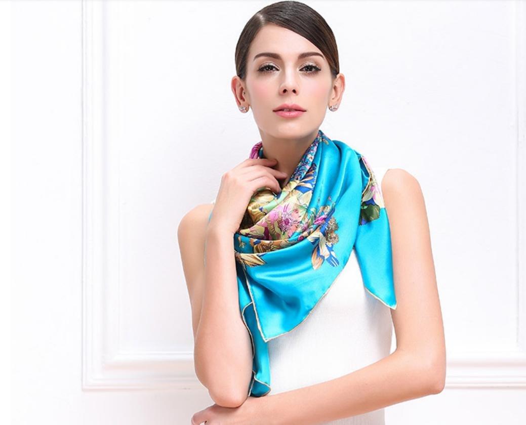 XYLUCKY Mujer Floral gráfico impresión 100% seda natural gran patrón bufanda cabeza cuello , days bl...