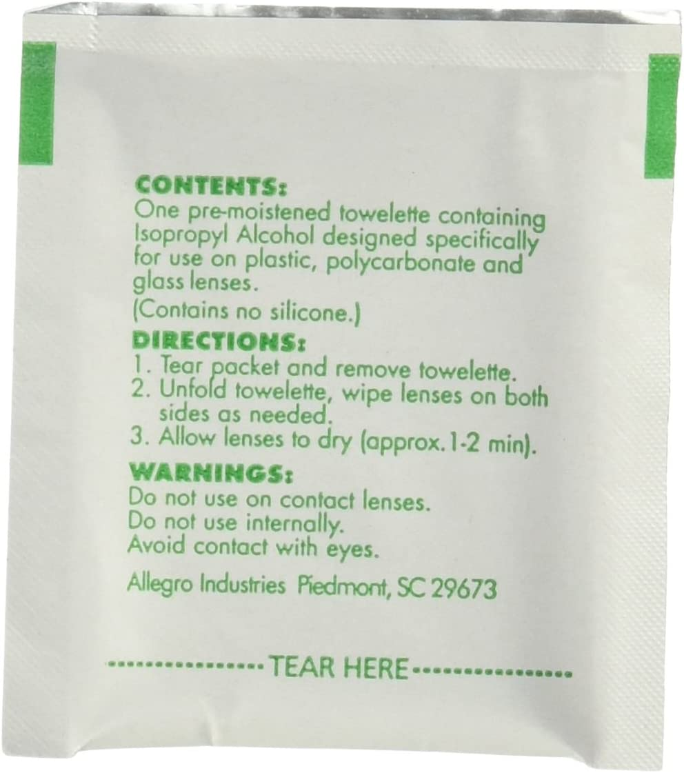 Allegro 0350 Safety Glasses Lens Cleaning Wipes Sold by The Box of 100 Wipes