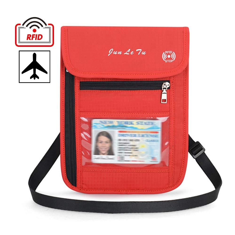 Reise Geldg/ürtel,Umh/ängegeldbeutel Diebstahlschutz f/ür Tickets Kreditkarten Bargeld Rot Damen Herren Brustbeutel Brusttasche mit RFID-Blockierung