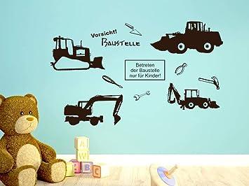 GRAZDesign Kinderzimmer Deko Junge Wandsticker Baustelle Set ...