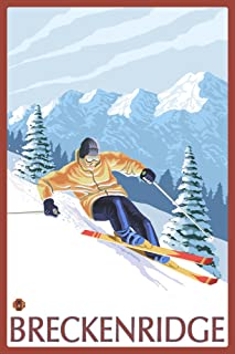 product image for Breckenridge, Colorado - Downhill Skier (24x36 Giclee Gallery Print, Wall Decor Travel Poster)