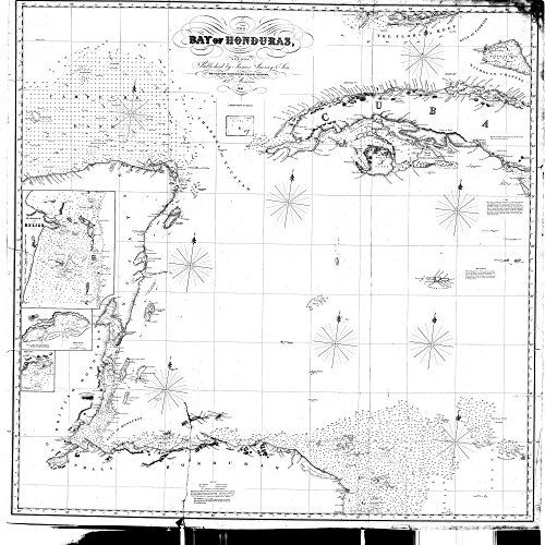 18 x 24 Canvas 1851 OTHER old nautical map drawing chart of The Bay of Honduras From James Imray & Sons x7932