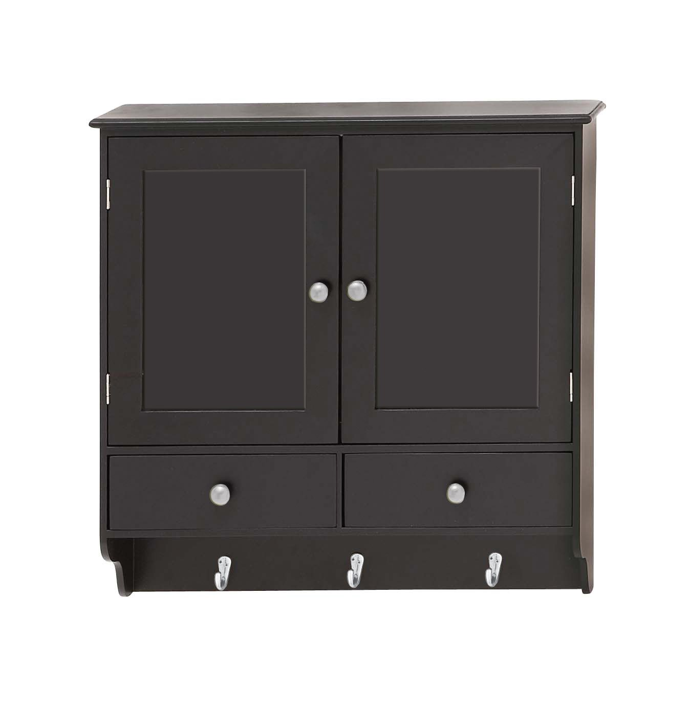 Deco 79 Attractive Wood Wall Cabinet with Hooks, 24'' W x 24'' H
